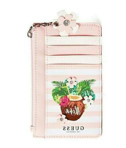 GUESS Womens Pink & White Small Faux Leather Logo Travel Clu