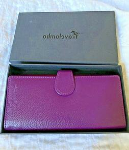 Travelambo Womens purple Walllet RFID Blocking Bifold Multi