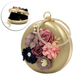 Womens Satin Evening Handbag Round Small Clutch Bags for Dat