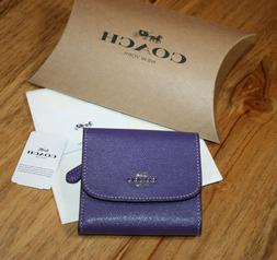 Coach Womens Small Wallet In Violet Crossgrain Leather Retai