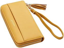 Travelambo Womens Wallet Tassel Bifold Ladies Cluth Wristlet