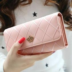 Womens Wallets Leather Long Wallet Hasp Phone Bag Money Coin