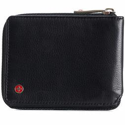 Alpine Swiss Zipper Bifold Wallet For Men or Women RFID Safe