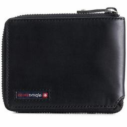 Alpine Swiss Unisex RFID Safe Zipper Wallet Genuine Leather